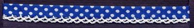 Biaisband met Stip motieven en Schulprand  1 meter