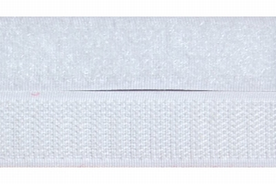 Klittenband 20mm breed, wit  0,50 Meter