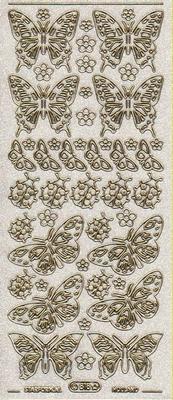 Stickervel Vlinder glitter transparant goud  10 x 23 cm