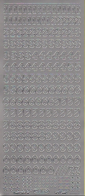 Stickervel Cijfers zilver  10 x 23 cm