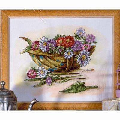 Borduurpakket Schaal met bloemen