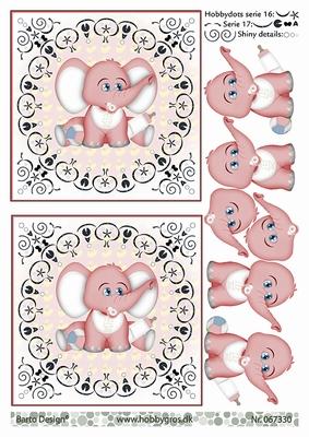 3D Stappenvel Baby Olifantje Roze  A4