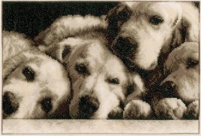 Borduurpakket van 4 labradors in sepia kleuren.