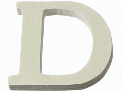 Houten letter D  4 cm