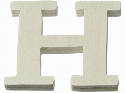 Houten letter H  4 cm