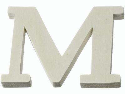 Houten letter M  4 cm