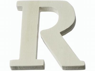 Houten letter R  4 cm