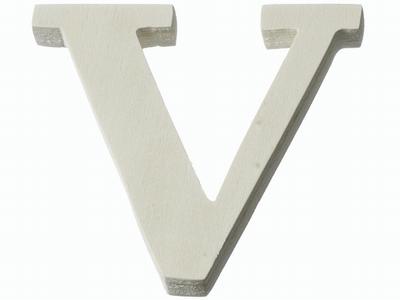 Houten letter V  4 cm