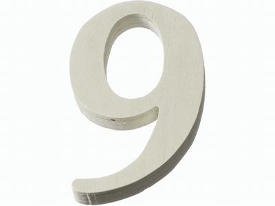 Houten cijfer 9  4 cm