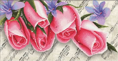 Borduurpakket Pink Roses & Music - Needleart World