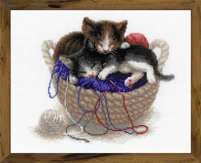 Borduurpakket Kittens in a Basket