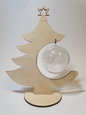 Houten kerstboom met transparante bal 8 cm