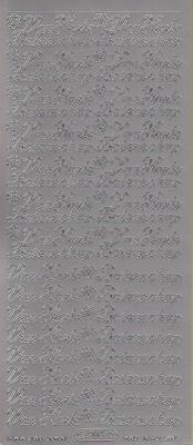 Stickervel Van Harte Beterschap zilver  10 x 23 cm