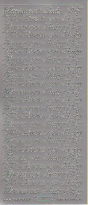 Stickervel Hoera een Baby zilver  10 x 23 cm