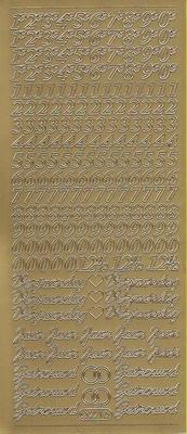 Stickervel Cijfers & Tekst goud  10 x 23 cm