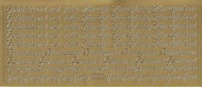 Stickervel Huwelijks Teksten goud  10 x 23 cm
