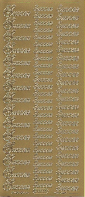 Stickervel Succes goud  10 x 23 cm