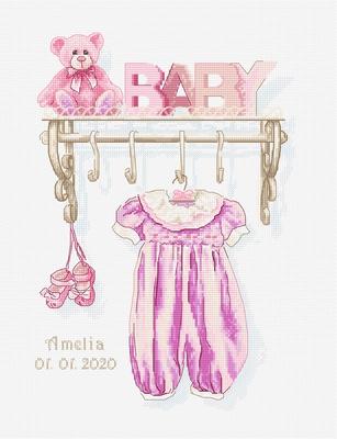 Borduurpakket Baby girl birth