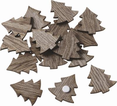 Houten Kerstboom met plakstip  24 stuks