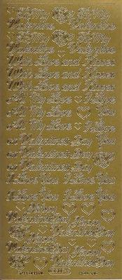 Stickervel Valentijn goud  10 x 23 cm