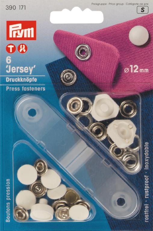Naaivrijdrukknopen Jersey Gladde Kap Wit 12mm 6 stuks