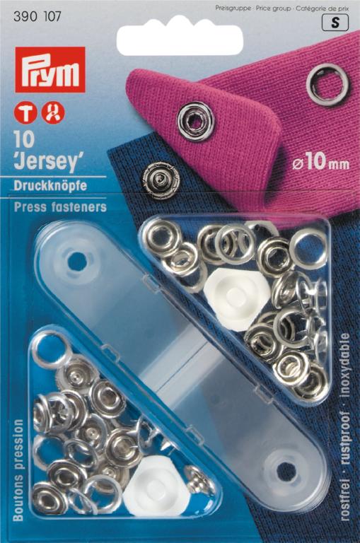 Naaivrijdrukknopen Jersey zilver 10mm 10 stuks