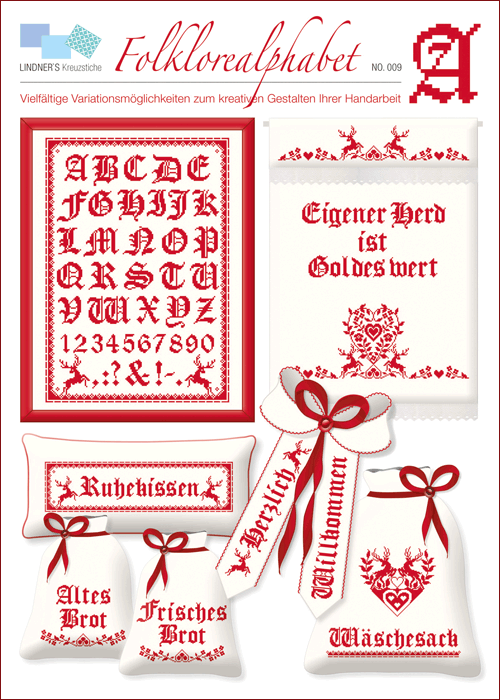 Lindner's borduurpatroon Folklore alfabet rood