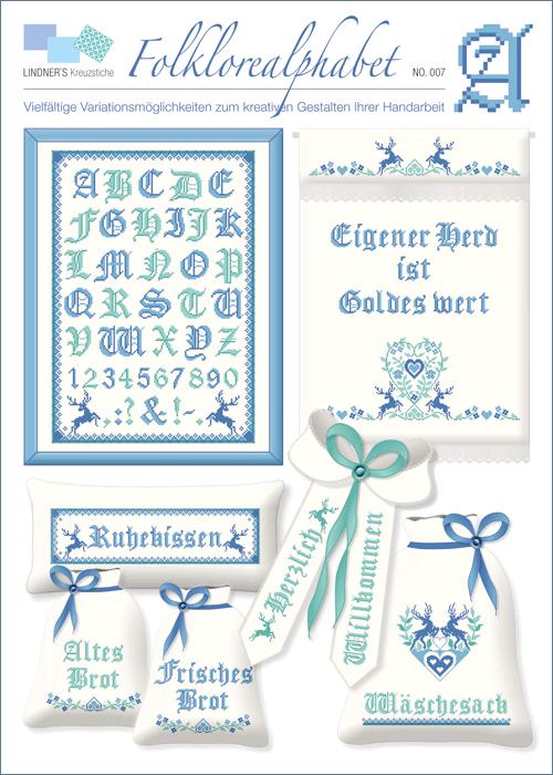 Lindner's borduurpatroon Folklore alfabet blauw