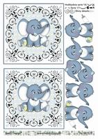 3D Stappenvel Baby Olifantje Blauw A4