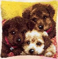 Knoopkussen 3 Honden 40 x 40 cm