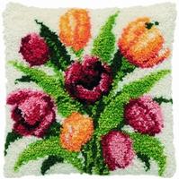 Knoopkussen Tulpen 40 x 40 cm