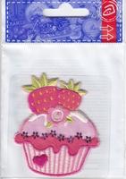 Applicatie cupcake met aardbeien