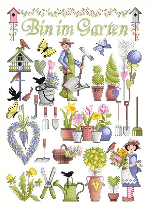Lindner's borduurpatroon Bin im Garten