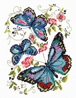 Borduurpakket Blue butterflies - Chudo Igla