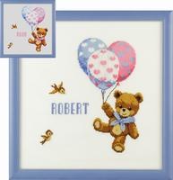 geboortetegel beertje met balonnen