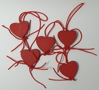 Gelukspoppetjes Hartjes rood 5 stuks