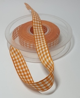 Geruit lint oranje 1 meter
