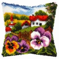 Knoopussen landschap met viooltjes 40 x 40 cm
