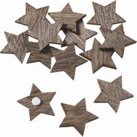 Houten Sterretjes met plakstip 24 stuks